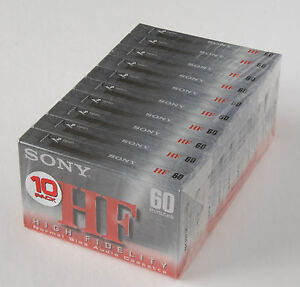10 Sony HF60 BLANK AUDIO CASSETTE TAPES NEW FACTORY SEALED PACK IECI / TYPE 1