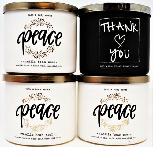 x4 Bath & Body Works 3 Wick Candle Candles 14.5oz Lg Jar PEACE + THANK YOU New