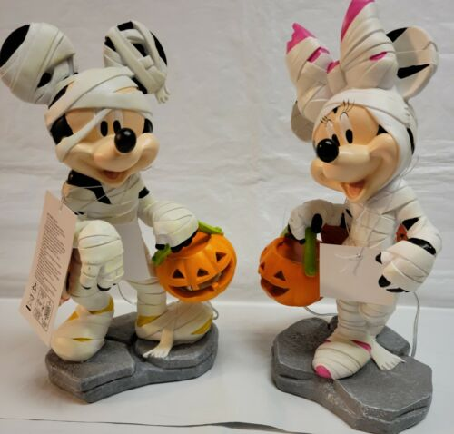 Disney Mickey Minnie Mouse Mummy LED Light-Up Halloween Garden Statue Figure