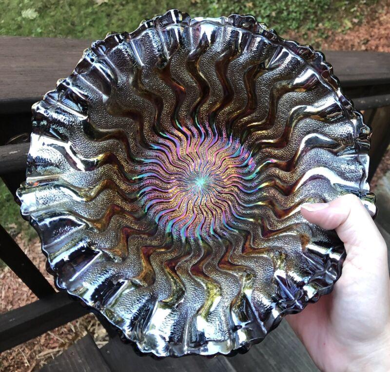 Millersburg Tri Corner Zig Zag Amethyst Crimped Edge Carnival Glass Bowl Rare