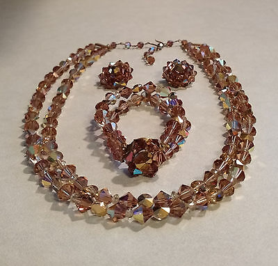 STUNNING VTG 1950s PARURE GOLD AND ROOT BEER CRYSTAL NECKLACE BRACELET EARRINGS