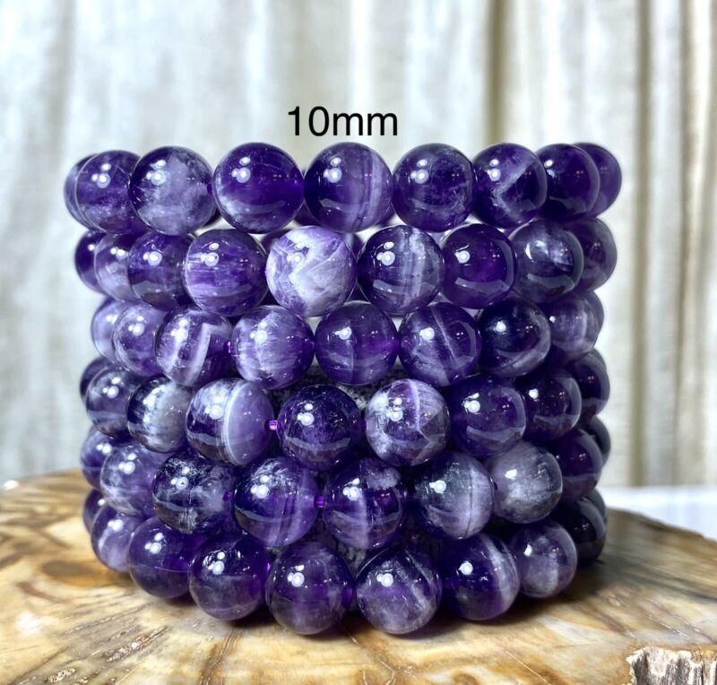 "Wholesale Lot 6 Pcs Natural Chevron Amethyst 10mm 7.5"" Crystal Stretch Bracelet"
