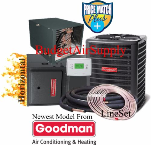 4 Ton Goodman 14 Seer 96% 120k Btu Gas Furnace Horizontal Gmss961205dn+50ft Line