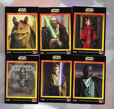 Star Wars Episode 1 1999 KFC Australia 10 card set