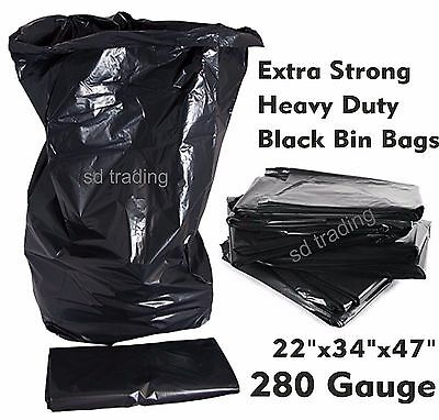 280 Gauge x 100 Black Bin Bags Compactor Refuse Sack Industrial Grade Heavy Duty