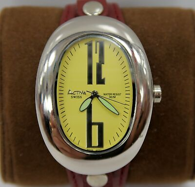 ACTIVA ~ Leather Strap LARGE OVAL Swiss Quartz LADIES Watch ~ UNIQUE L@@K ~