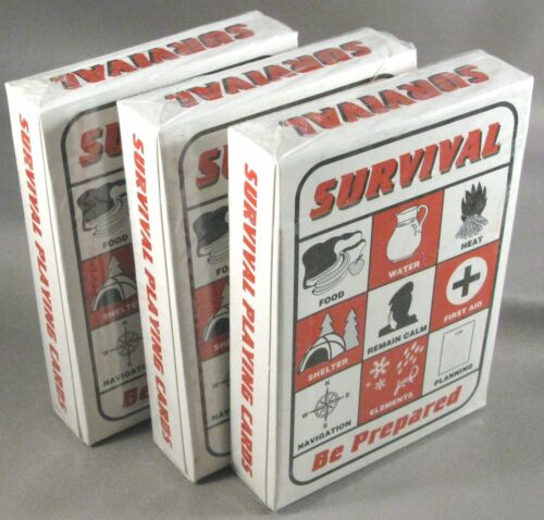 Survival Playing Cards 3 Decks Bug Out Bag Gear Supplies Backpack Kit Prepper