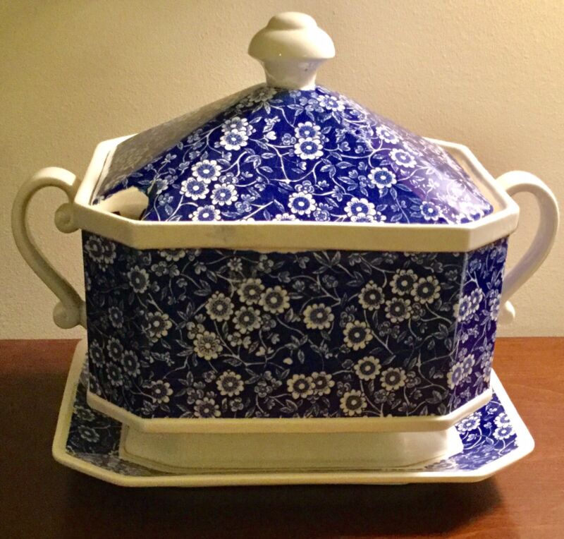 Vintage Transferware Blue & White Floral Motif Tureen