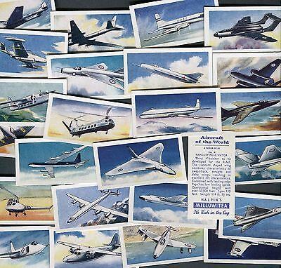 "HALPINS TEA 1958 SET OF 25 ""AIRCRAFT OF THE WORLD"" TEA CARDS"