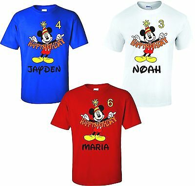 HAPPY BIRTHDAY Mickey Mouse Disney T-Shirts Add Name & Age ! ANY COLOR](Mickey Mouse Colors)