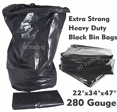 200 x Black Bin Bags Compactor Refuse Sack Industrial Grade Heavy Duty 280 gauge