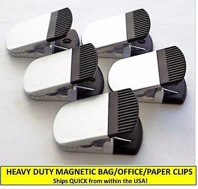 Set Of Five 5 Heavy Duty Silverblack Magnetic Bag Clips Officepaper Clips