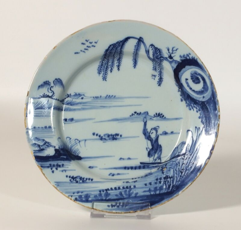 18th C. Delft Chinoiserie Blue & White Plate With Fisherman and Willow