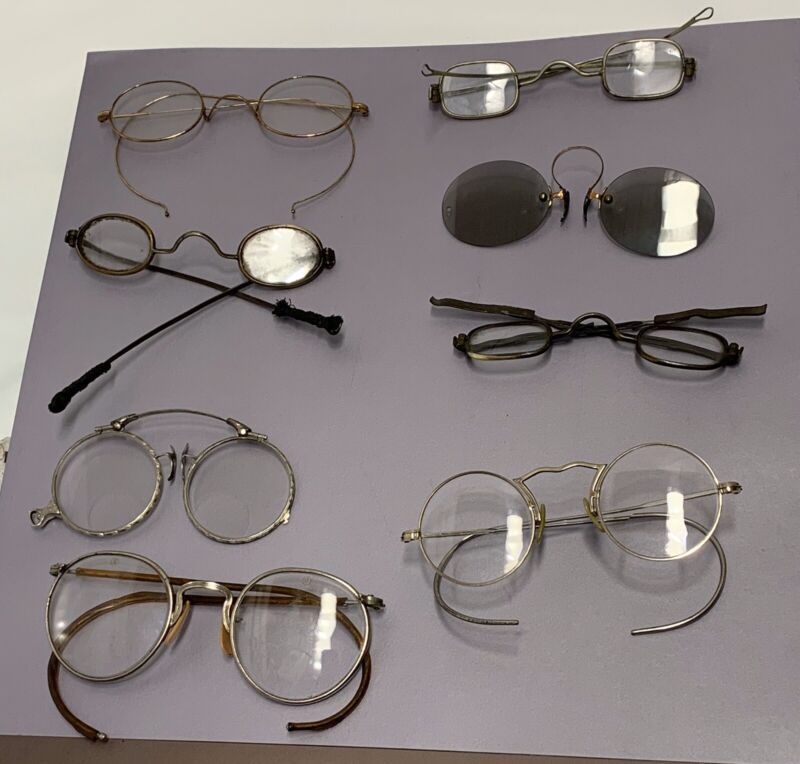 8 Vintage Antique Glasses Spectacles  Early 1800s Loop End