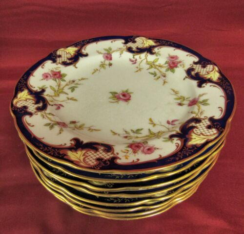 8 Coalport England Hand Painted Scalloped Lunch Plates #6842 , circa 1900 - MINT