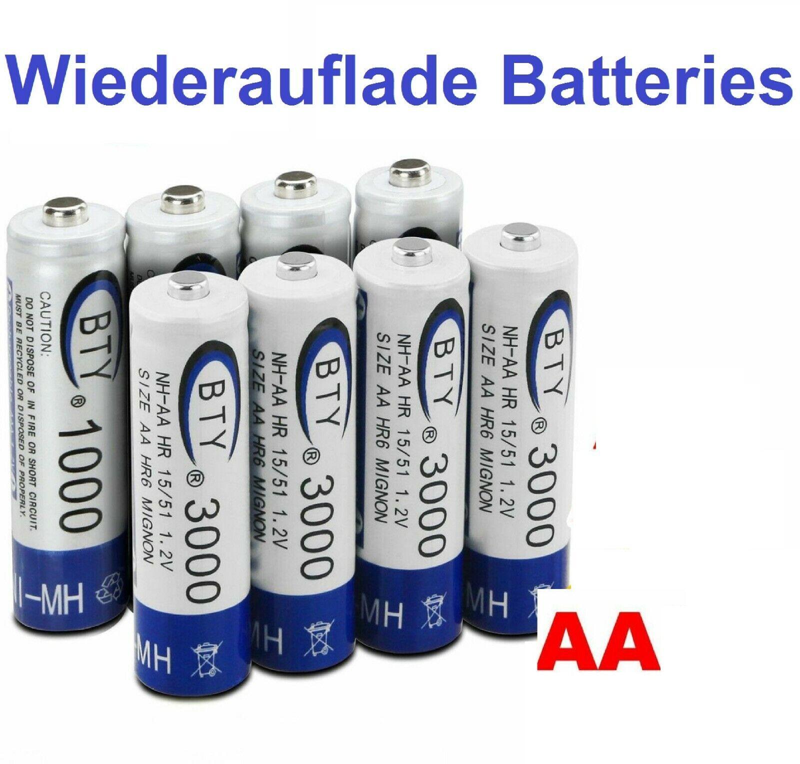 Wiederaufladbar AA Batterie Rechargeable Akku 1.2V Battery 3000mAh Ni-MH Neu