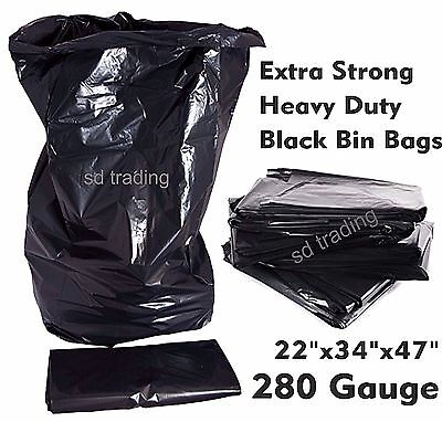 50 x Black Bin Bags Compactor Refuse Sack Industrial Grade Heavy Duty 280 gauge
