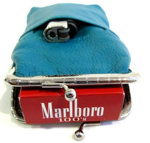 Women Genuine Leather Cigarette Case Lighter Match Pocket Zipper Coin Pouch TEAL