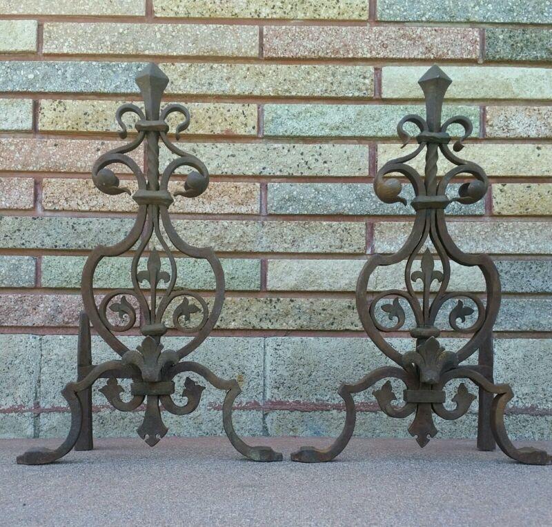 French 19th Century Fleur-de-lis Wrought-iron Fireplace Andirons Set