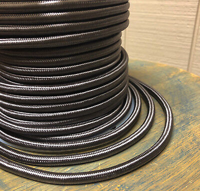 Pewter Cloth Covered 3-Wire Round Cord, Vintage Pendant Lights, Color Flex Cable - Lights Clothing