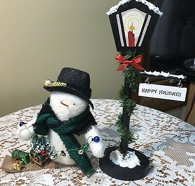 Vintage Christmas Raggedy Snowman & Street Lamp W/ Interchangeable Greeting Sign