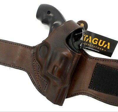 - TAGUA Brown Leather Right Hand ANKLE Holster for S&W J-FRAME REVOLVER 2-1/8