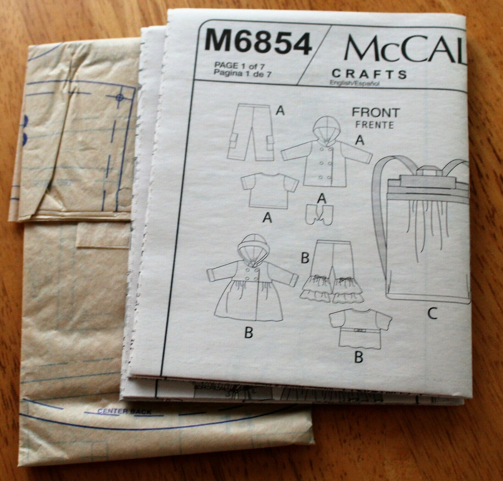 McCalls Pattern 640 Or 6854 DOLL CLOTHING 18 DOLLS 2 Outfits, Carrier, Uncut - $3.99