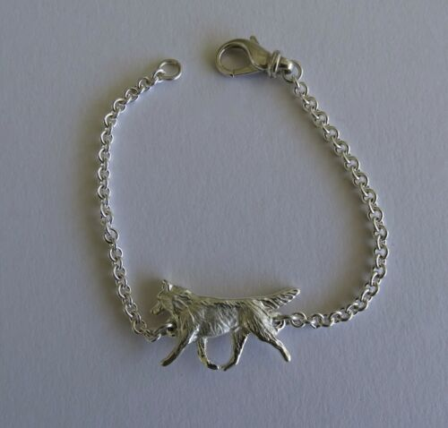 Medium Sterling Silver Siberian Husky Moving Study Bracelet
