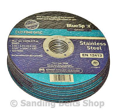 "10 Metal Cutting Disc Flat Blade Stainless Steel 115mm Air Cut off Thin 4 1/2"""