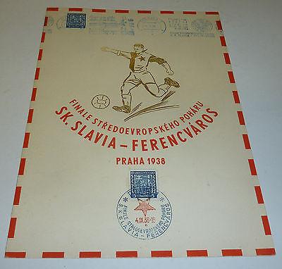 Prag 1938 Fußball Gedenkblatt Slavia - Ferencvaros Praha 1938
