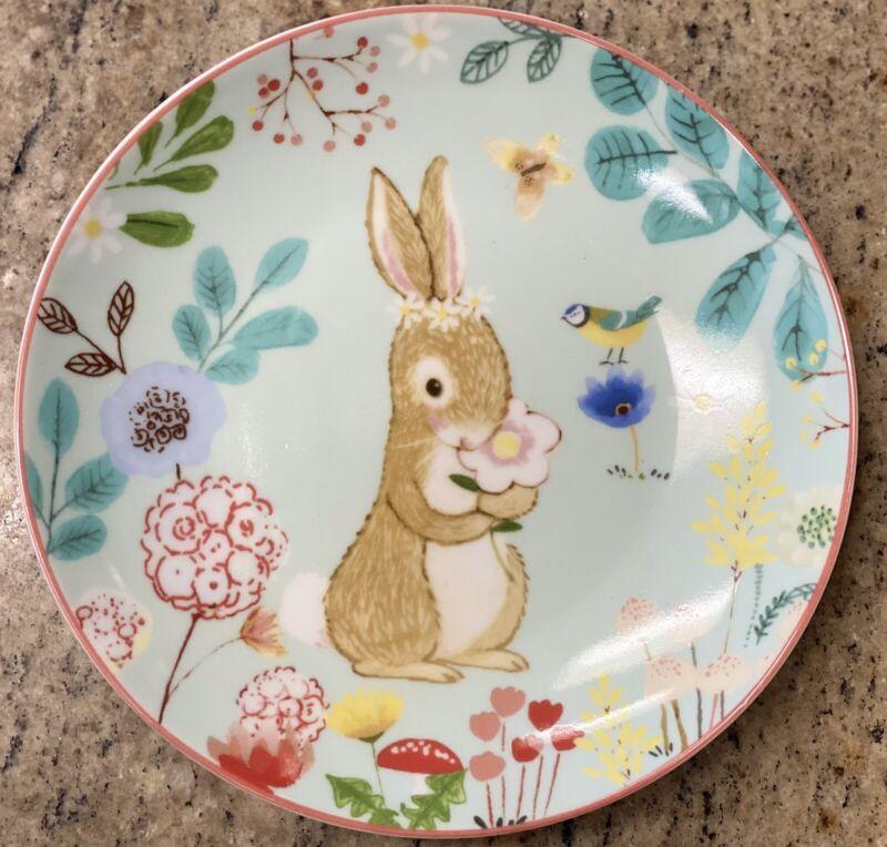 222 Fifth Briar Field Bunny Rabbit Appetizer Dessert Plates Set 4