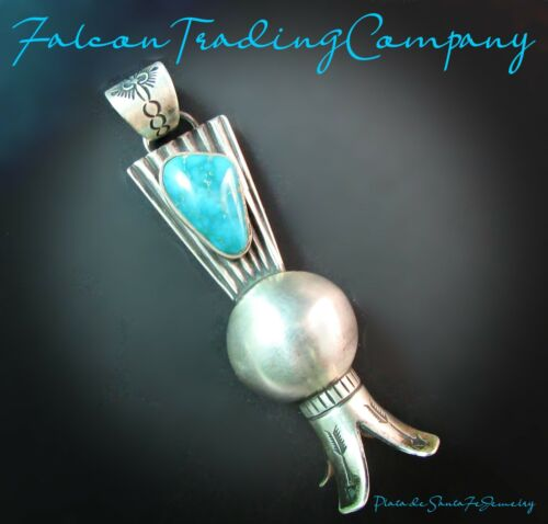 """BUBBA SHACKELFORD-Hand Forged-Ingot Sterling Squash Blossom Turquoise Pendant-4"""""""