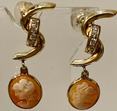 18K Yellow Gold and Diamond with Cameos Earrings