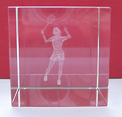 3D Crystal Glass Block Paperweight Female Tennis Player