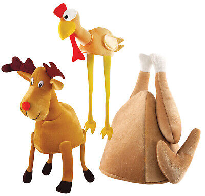 Christmas Xmas Novelty Thanksgiving Party Hat Roast Chicken Reindeer Turkey - Christmas Novelty Hats