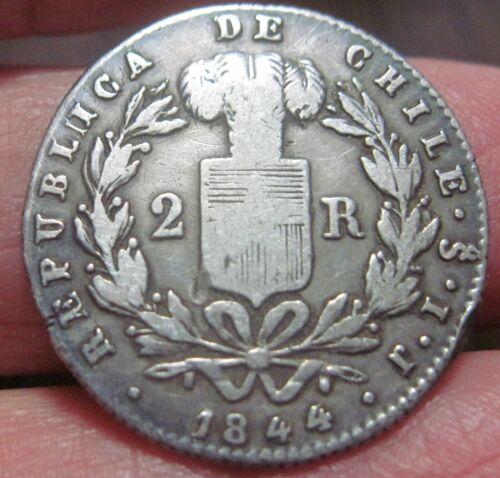 1844 (SANTIAGO- CHILE) 2 REALES (SILVER) -- CONDOR --- very scarce----