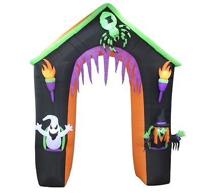 9 Foot Halloween Inflatable Haunted Castle Ghost Witch Spider Archway Decoration