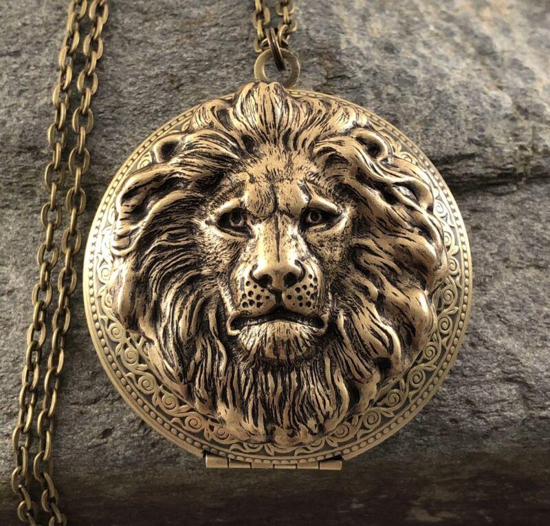 Lrg LION HEAD Locket Necklace, Antique Brass, Victorian Art Nouveau Vtg Inspired