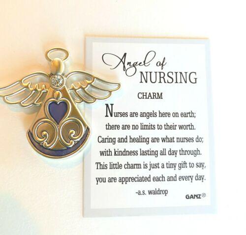 Ganz Angel of Nursing Charm Pocket Token Nurses Caring Kind w/Poem Story Card