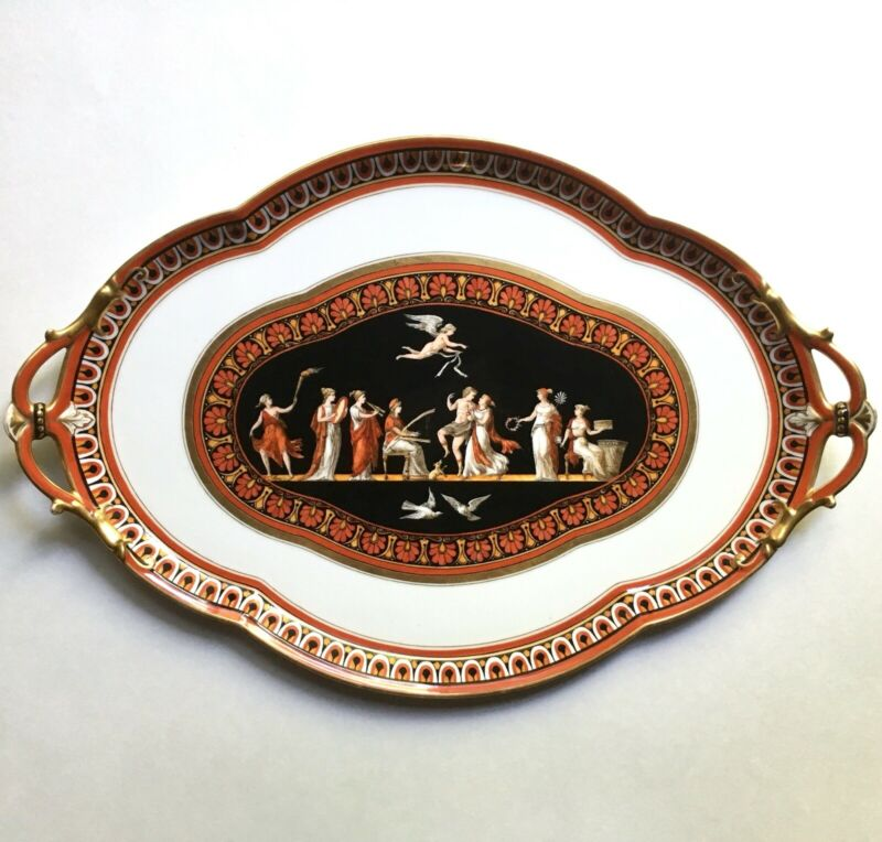 Antique Ginori Doccia Neoclassical Porcelain Platter Tray Artist Signed 19th C
