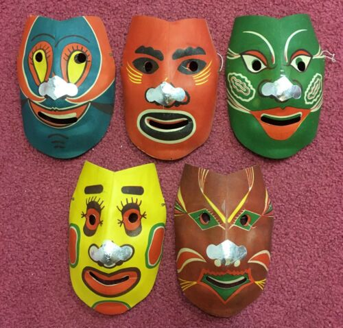 Vintage Halloween Set of 5 Cardboard Foil Nose Masks - Made in Japan Unused