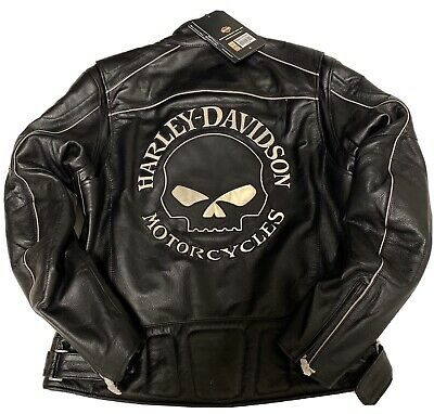 New Harley Davidson Men's M Reflective Willie G Skull Leather Jacket 98099-07VM