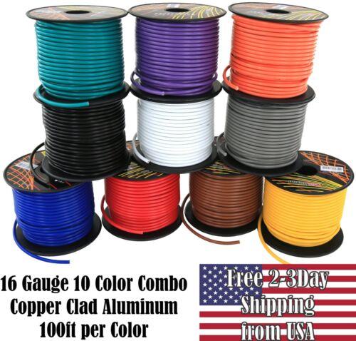 16 Gauge Ga 10 Color Copper Clad 12V Automotive Trailer Hookup Auto Primary Wire