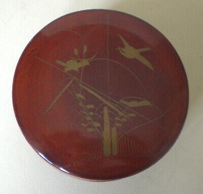 Asiat. Lackdose mit 11 Untersetzern aus Bambus, filigrane Goldbemalung, antik