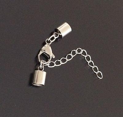 Armband Verschluss für 5mm Band Edelstahl Endkappen Karabiner Verlängerungskette