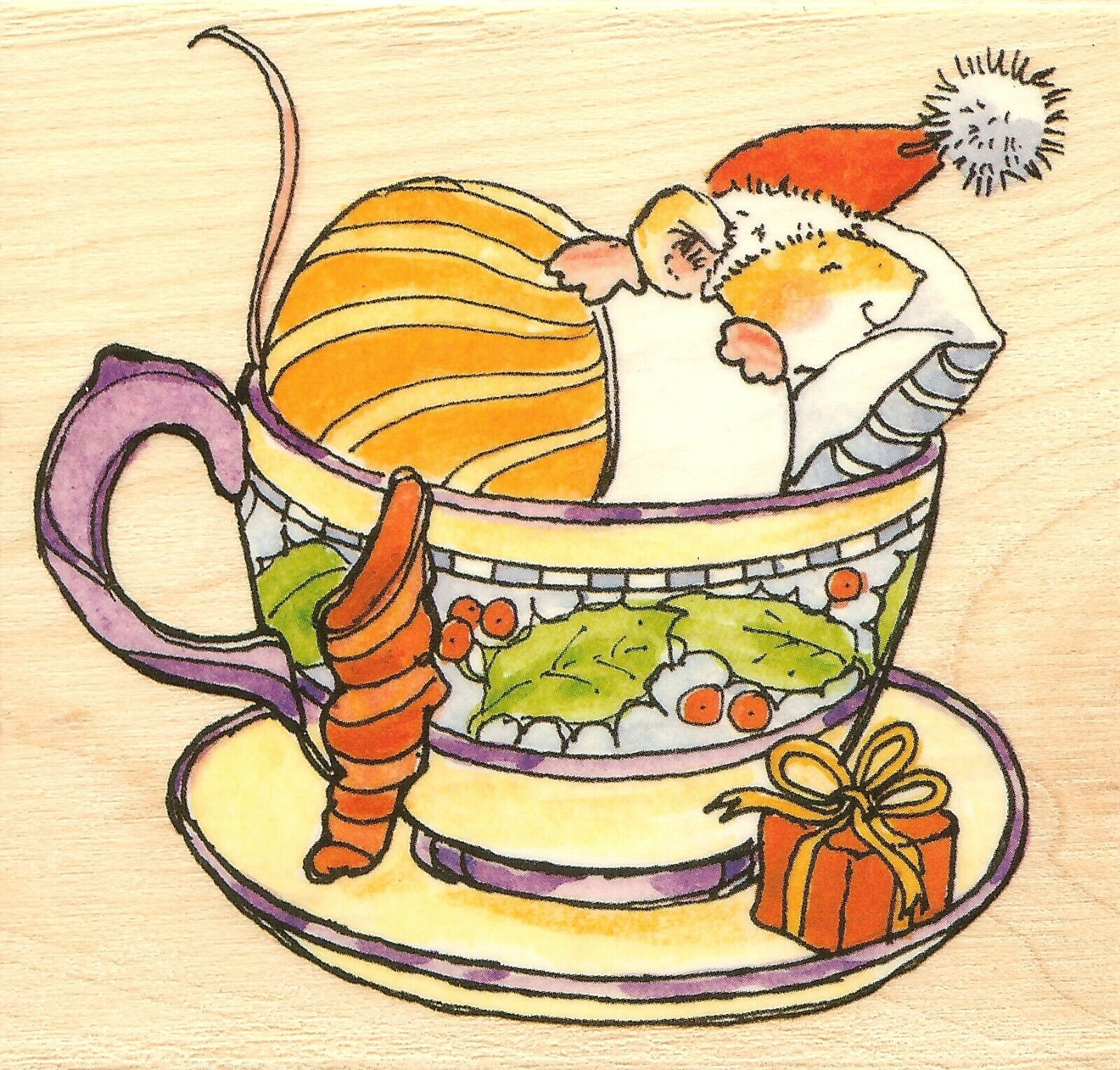 Christmas In A Tea Cup Mouse Wood Mounted Rubber Stamp PENNY