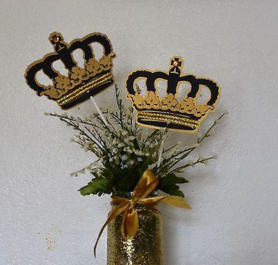 Crown stick centerpieces/ Royal Crown stick/ Gold and black Crown](Gold And Black Centerpieces)