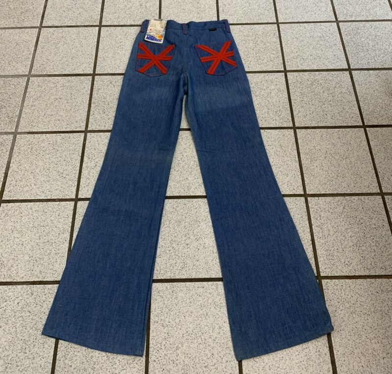 Vintage Girls Bell Bottom Jeans Disco Hippie 24 X 28 Flare Denim 1970s NEW Sz 10