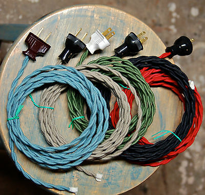 8' Twisted Cloth Covered Wire & Plug, Vintage Light Rewire K