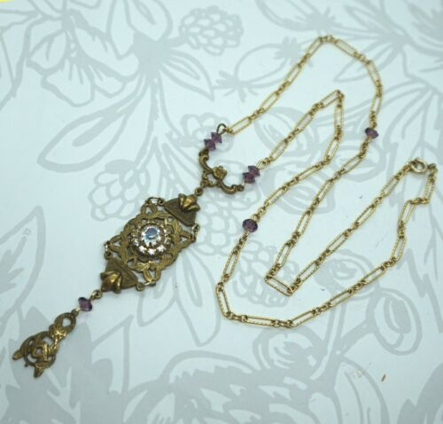 Art Deco Vintage Iris Art Glass Halo w/ Amethyst Glass & GF Filigree Necklace